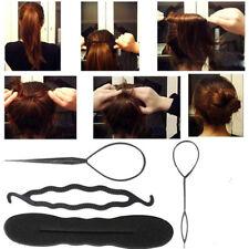 4 Pcs Women Magic Hair Twist Fashion Styling Clip Stick Bun Maker Braid Tool