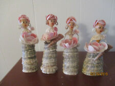 Vtg set 4 Sea Shell Doll Woman Figurine Folk Art Hand Made Hand Painted
