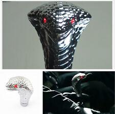 Car Manual Gear Shift Knob Stick Handle Alloy 3D Cobra Snake Red Eye LED Light