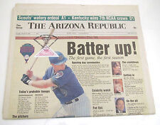 Arizona Diamondbacks Newspaper FIRST GAME with OFFICIAL STAMP & SEAL