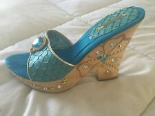 Women's Electra Heels/Shoes/Wedges. Size 8  Rhinestones. Turquoise  New