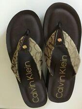 Women's Calvin Klein Wedge Flip Flops Brown Tan Size 8