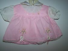 Vintage Baby Girl Pink/White With 2 Flowers And Bows With Lace (For Large Doll)