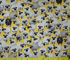 Susybee's Lewe sheep all over yellow 100% cotton fabric by the yard