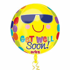 LARGE GET WELL SOON ORBZ FOIL BALLOON BRIGHT AND SUNNY POLKA DOTS SMILEY FACE