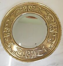 antique victorian brass round mirror