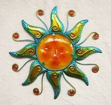 Wand Deko Glas Sonne Metall mit Schmucksteinen Dekoration Balkon gold blau 40cm