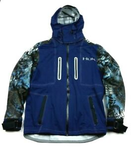 Huk Fishing NXTLVL Kryptek Navy Blue Waterproof All-Weather Jacket Large Mens