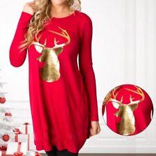 Women Christmas Swing Party Loose Long Sleeve Deer Print Short Mini Dress
