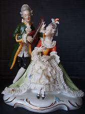 Large Antique Meissen Lady Man Porcelain Lace Figure~Music Serenade~August Rex
