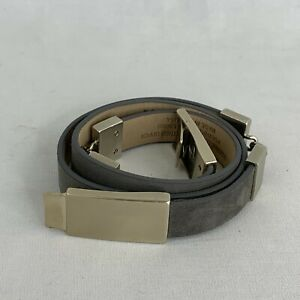 St John Italian Leather Belt 32 Gray Silver Tone Hardware Skinny