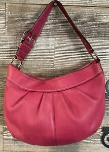 COACH Large Pleated Pink Leather SOHO Hobo Shoulder Tote Purse Bag F13731