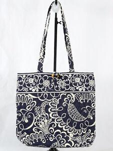 Vera Bradley Handbag Purse Twirly Birds Navy Handles White Outlines Floral