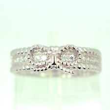 Womens 925 Sterling Silver CZ Bow Ring -Valentines Day Present / Gift