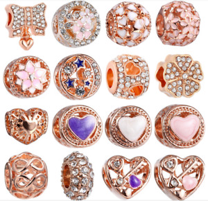 Wholesale 25pcs Mix Enamel Rhinestone Rose Gold Fashion European Alloy Hole Bead