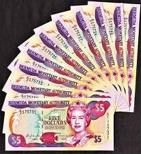 Bermuda LOT 10 CONSECUTIVE $5 QEII 24.5.2000 Pick-51a GEM UNC