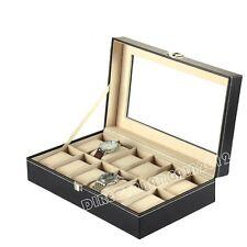 Uhrenbox Uhrenkoffer Uhrenkasten Uhrenschatulle Für 12 Uhren Uhrentruhe Leder