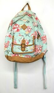 Northfield Supply Co Hibiscus Floral Print Mudd Leather Bottom Backpack Teal