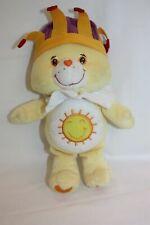 "Care Bear Plush Yellow with Jester Crown & Ruffle King Funshine Sunshine 11"""