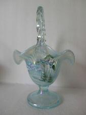 Fenton  10.5'' Aquamarin Opal  Iridized '' Winter Wonderland '' Basket  Gorgeous