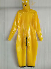 Latex Rubber Yellow Bodysuit Hood Catsuit Zipper Tights Suit Size XS-XXL
