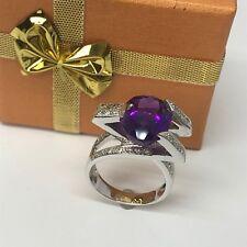 GENUINE DIAMONDS & AMETHYST 14K FINE GOLD DESIGNER RING