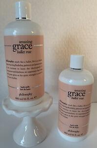 Lot Of 2 New Philosophy Amazing Grace Ballet Rose Bath Milk 16oz