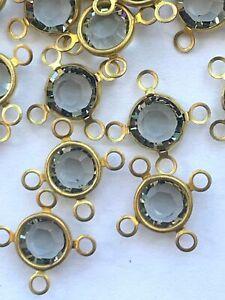 L091 - 60 Set w/ Swarovski Channel Cut 4-Eye Links / Connectors 7mm Blk Diamond