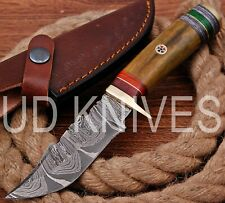 UD HANDMADE FIXED BLADE DAMASCUS ART HUNTER SKINNER KNIF CAMEL BONE HANDLE 10580