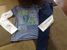 Girls Justice long sleeve tee Long navy leggings outfit size 14(Vguc)