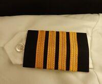 4 Bar Gold Airline Pilot Epaulets Captain Shoulder Board Insignia Sliders, USA