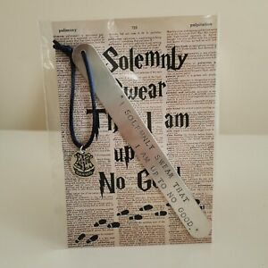 HANDMADE BOOKMARK HAND STAMPED FRIEND HARRY POTTER SOLEMNLY UP TO NO GOOD GIFT B