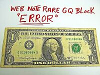 Cool Error Web Press Note - Serial Number into design RARE GQ Block FREE SHIP