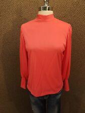 NOS NEW Vtg 70s Pink Cheeky Knit Baloon Sleeve Back Zip Mock Turtleneck Top Sz M