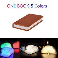 LED Foldable Wooden Book Shape Desk Lamp Night Light USB Rechargeable Booklight