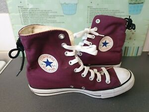 LADIES BURGUNDY RED CONVERSE ALL STAR HI TOPS SIZE 7