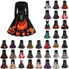 Women's Halloween Skull Pumpkin Midi Dress Rockabilly Swing 50s Retro Dresses