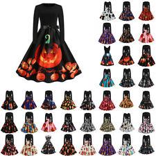 Damen Vintage Halloween Gedruckt Rockabilly Midikleid Swing A-Linie Partykleider