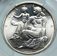 1948 SWITZERLAND Constitution Woman Child Silver 5 Franc Swiss Coin PCGS i85722