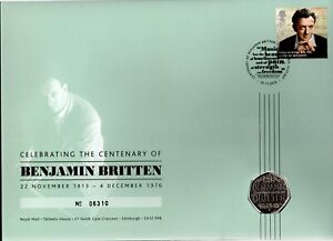 GB 2013 COVER CENTBENJAMIN BRITTEN WITH 50P COIN