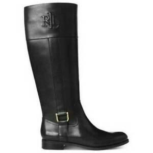Ralph Lauren Womens Bernadine Black Leather Knee High Riding Boots Size 6B