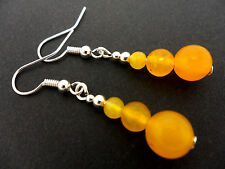 A PAIR OF YELLOW JADE DANGLY EARRINGS. NEW.