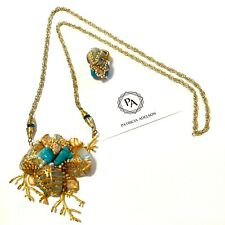 SET - Necklace + Ring Corals Grey and Gold Crystals ONE OF KIND