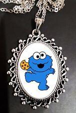 Cookie Monster Antique Silver Pendant Necklace Kids Cartoon Sesame Street Cute