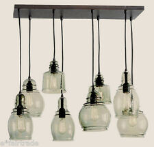 POTTERY BARN Paxton Glass 8-Light Pendant Chandelier, Estate 12' Ceiling, NEW