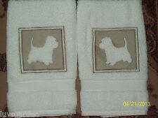 Scottish Terrier Dog Embossed  Hand Towel Set Embroidered