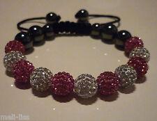 New Shamballa Pink and White Czech Crystal Bracelet - Bangle