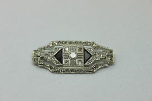 1.00 Carat Vintage Genuine Diamond  brooch  18kt white 1970'S