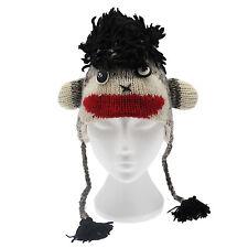 Fun Crazy Monkey Handmade Winter Woollen Animal Hat with Fleece Lining, UNISEX
