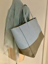 "Celine Paris Baby Blue Gray Grained Leather Open Tote Bag with Handles 17"" x 12"""